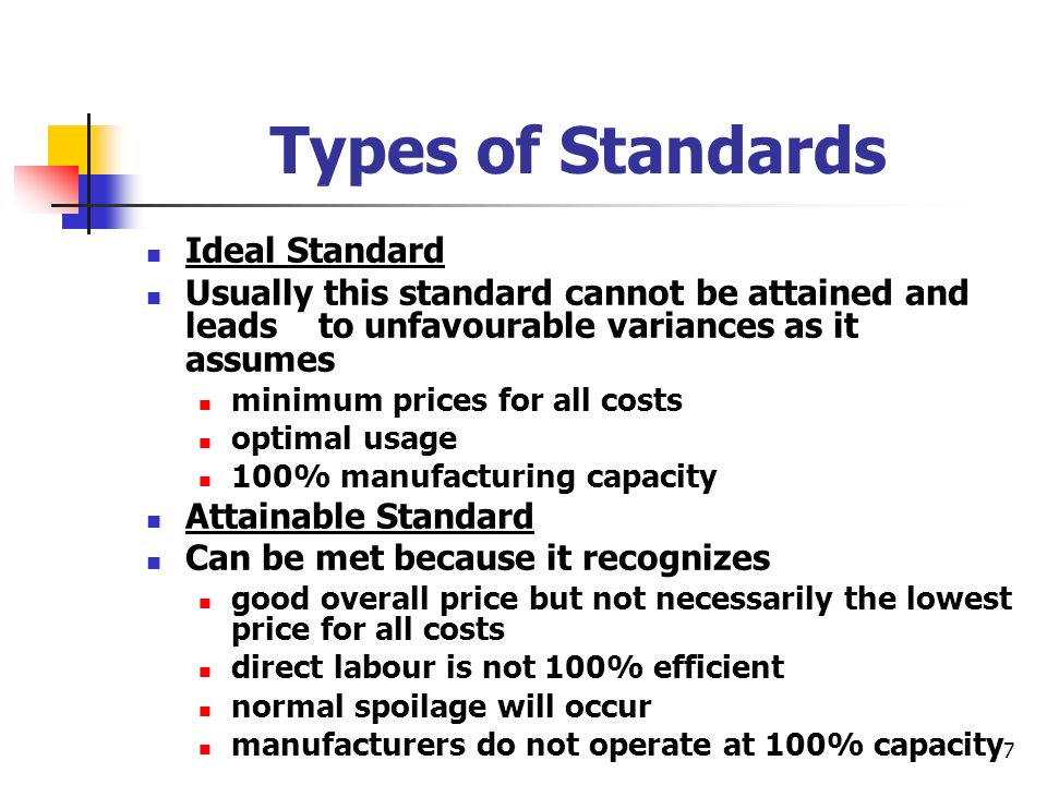 7 Types of Standards Ideal Standard Usually this standard cannot be attained and leads to unfavourable variances as it assumes minimum prices for all