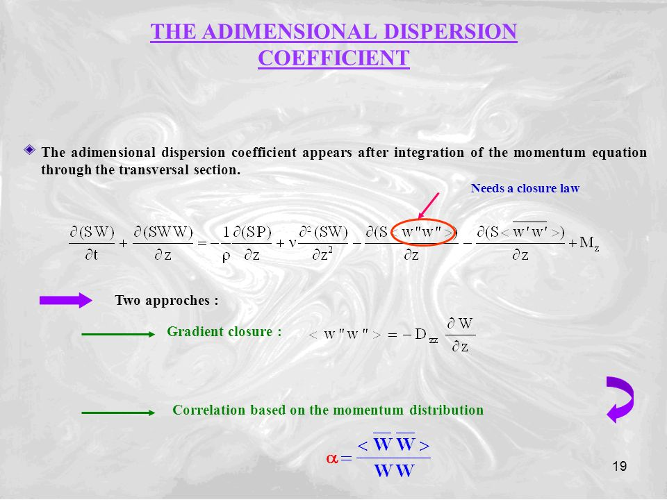 19 The adimensional dispersion coefficient appears after integration of the momentum equation through the transversal section.