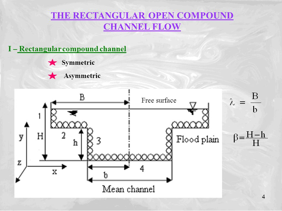 4 THE RECTANGULAR OPEN COMPOUND CHANNEL FLOW I – Rectangular compound channel Symmetric Asymmetric Free surface