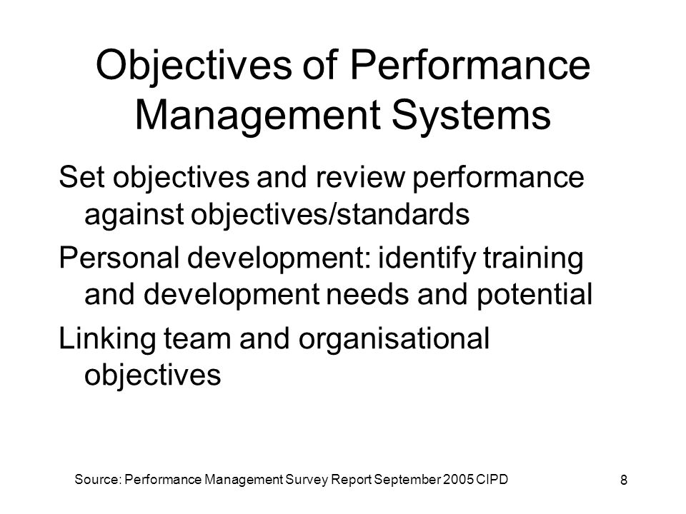 19 Features of Performance Management Systems % use% effective Individual annual appraisal6583 Objective setting and review6282 Personal development plans6281 Career management3747 Coaching3646 Performance related pay3139 Competence assessment3139 Self appraisal3053
