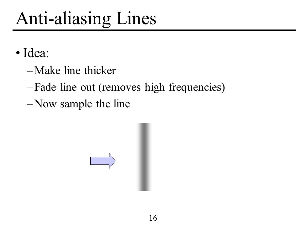 16 Anti-aliasing Lines Idea: –Make line thicker –Fade line out (removes high frequencies) –Now sample the line