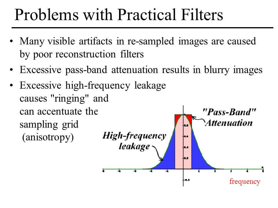 Problems with Practical Filters Many visible artifacts in re-sampled images are caused by poor reconstruction filters Excessive pass-band attenuation