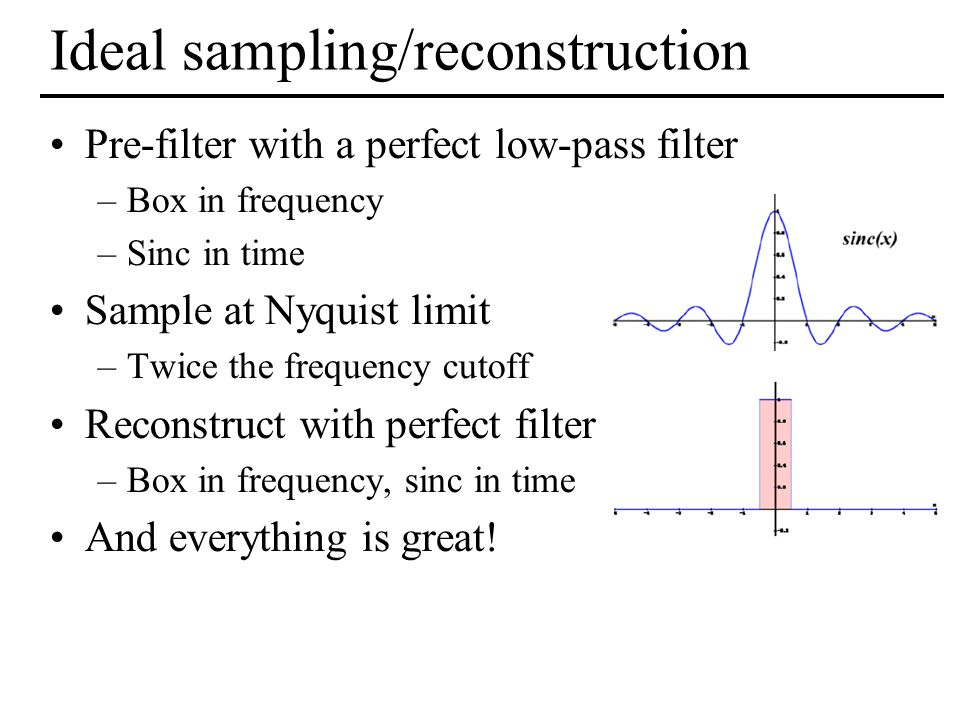 Ideal sampling/reconstruction Pre-filter with a perfect low-pass filter –Box in frequency –Sinc in time Sample at Nyquist limit –Twice the frequency c