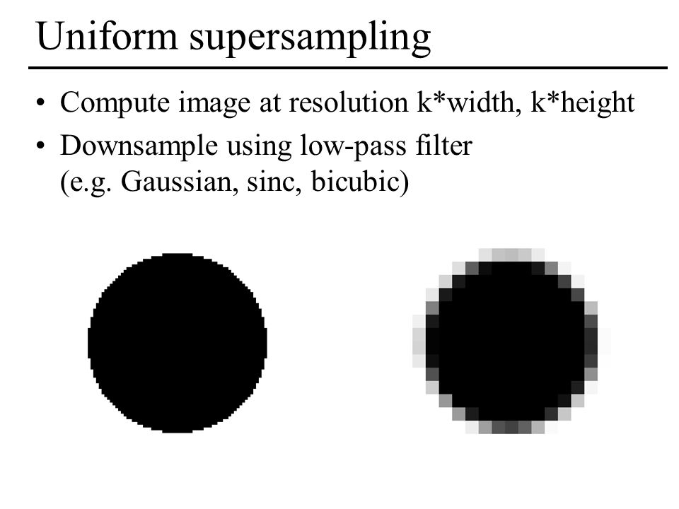 Uniform supersampling Compute image at resolution k*width, k*height Downsample using low-pass filter (e.g. Gaussian, sinc, bicubic)