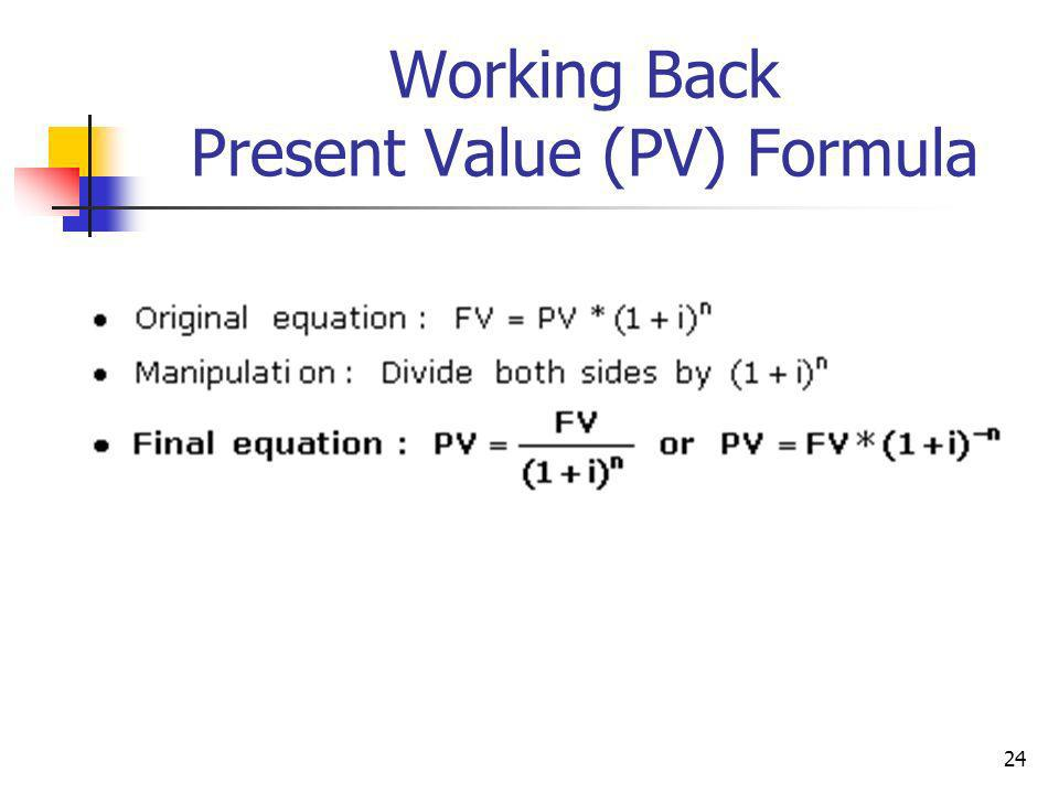 24 Working Back Present Value (PV) Formula