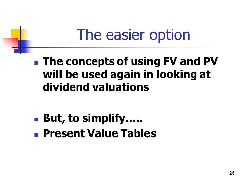 26 The easier option The concepts of using FV and PV will be used again in looking at dividend valuations But, to simplify…..