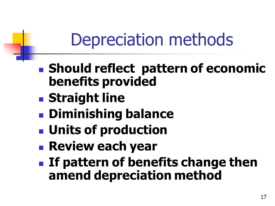 17 Depreciation methods Should reflect pattern of economic benefits provided Straight line Diminishing balance Units of production Review each year If