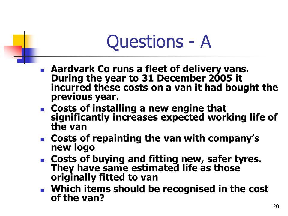 20 Questions - A Aardvark Co runs a fleet of delivery vans.