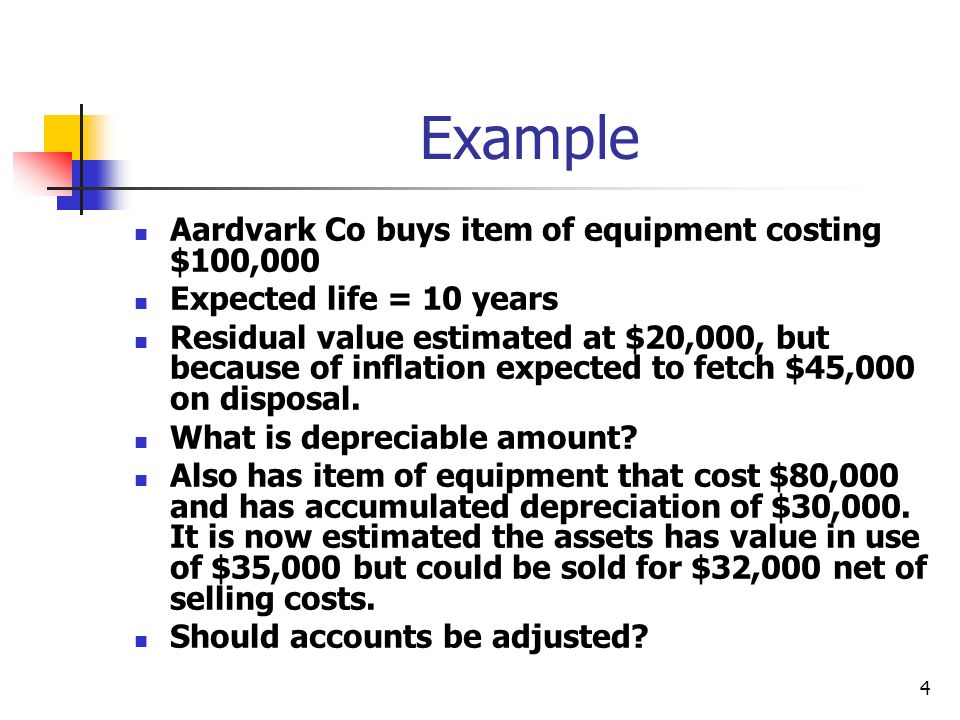 4 Example Aardvark Co buys item of equipment costing $100,000 Expected life = 10 years Residual value estimated at $20,000, but because of inflation expected to fetch $45,000 on disposal.