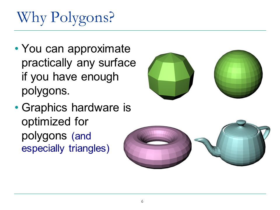 6 Why Polygons? You can approximate practically any surface if you have enough polygons. Graphics hardware is optimized for polygons (and especially t