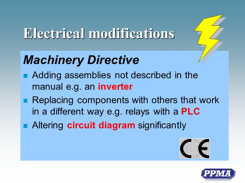 Electrical modifications Machinery Directive n Adding assemblies not described in the manual e.g.