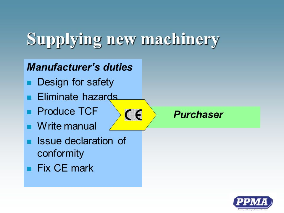 Software modifications Machinery Directive n Any modification that could compromise the safety of the the machine