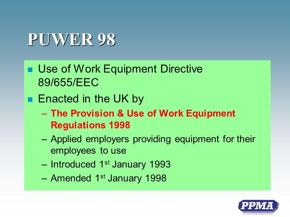 PUWER 98 n Regulations 25-30 –Mobile Equipment* n Regulations 31-35 –Power presses* n Regulations 36-39 –Procedural *new requirements