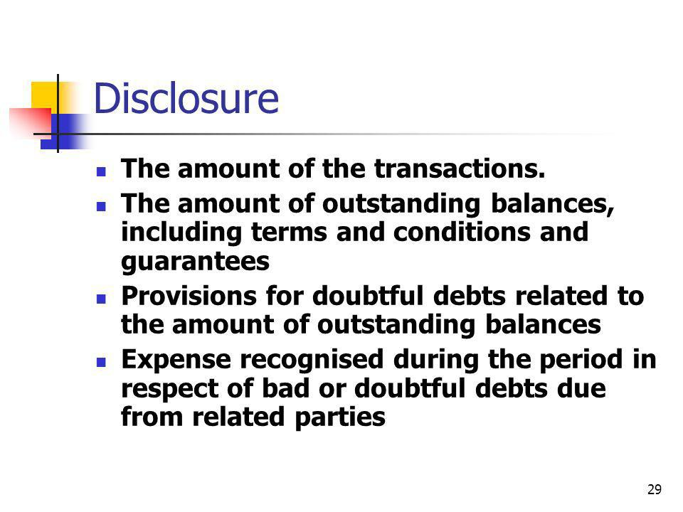 29 Disclosure The amount of the transactions. The amount of outstanding balances, including terms and conditions and guarantees Provisions for doubtfu