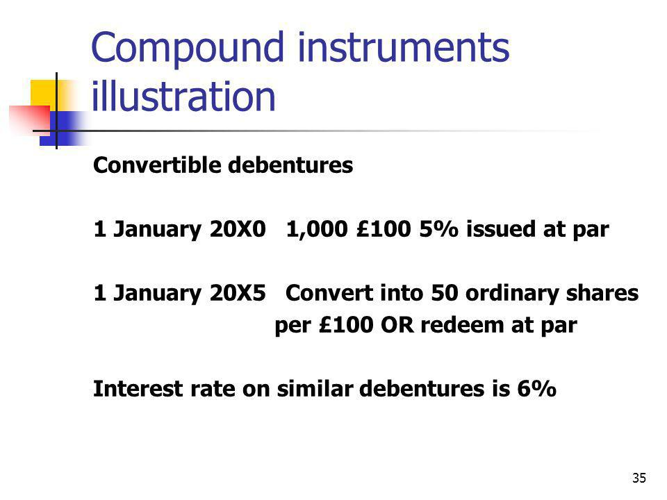 35 Compound instruments illustration Convertible debentures 1 January 20X0 1,000 £100 5% issued at par 1 January 20X5 Convert into 50 ordinary shares