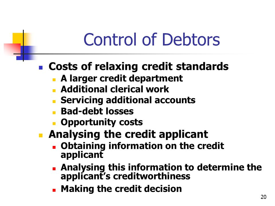 20 Control of Debtors Costs of relaxing credit standards A larger credit department Additional clerical work Servicing additional accounts Bad-debt lo