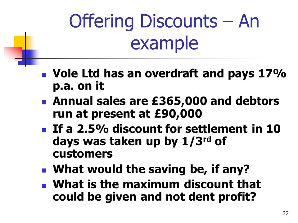 22 Offering Discounts – An example Vole Ltd has an overdraft and pays 17% p.a.