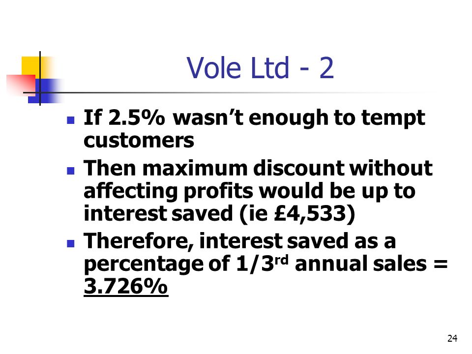 24 Vole Ltd - 2 If 2.5% wasnt enough to tempt customers Then maximum discount without affecting profits would be up to interest saved (ie £4,533) Ther