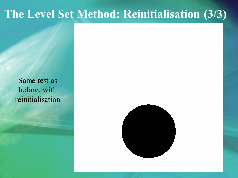 The Level Set Method: Reinitialisation (3/3) Same test as before, with reinitialisation