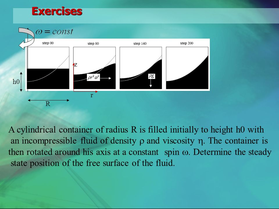Exercises h0 R z r A cylindrical container of radius R is filled initially to height h0 with an incompressible fluid of density and viscosity.