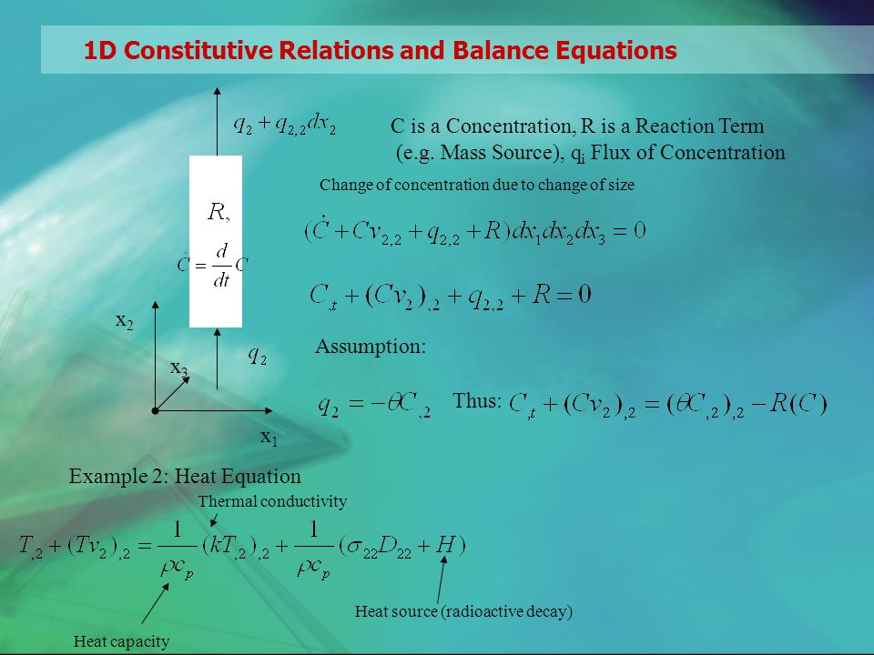 1D Constitutive Relations and Balance Equations x1x1 x2x2 C is a Concentration, R is a Reaction Term (e.g.