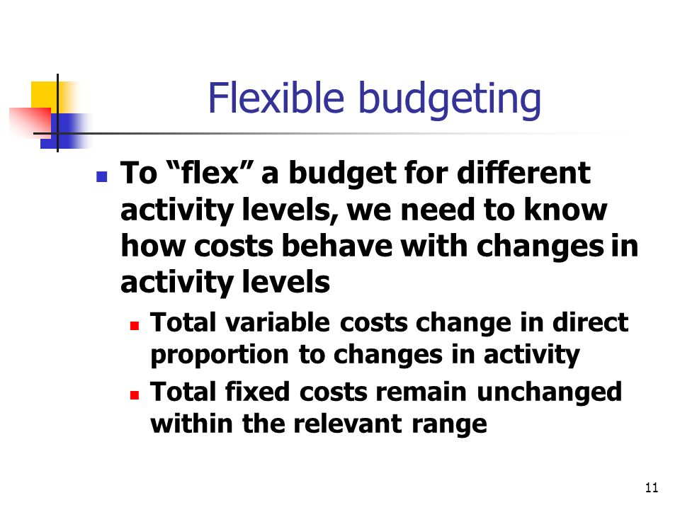 11 Flexible budgeting To flex a budget for different activity levels, we need to know how costs behave with changes in activity levels Total variable