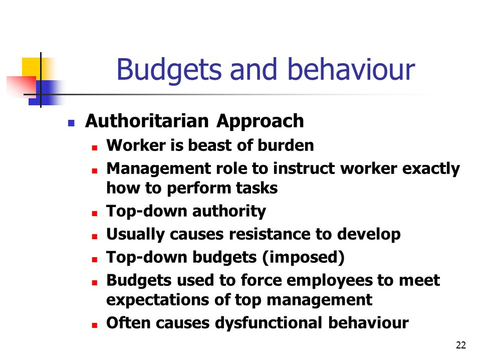 22 Budgets and behaviour Authoritarian Approach Worker is beast of burden Management role to instruct worker exactly how to perform tasks Top-down aut