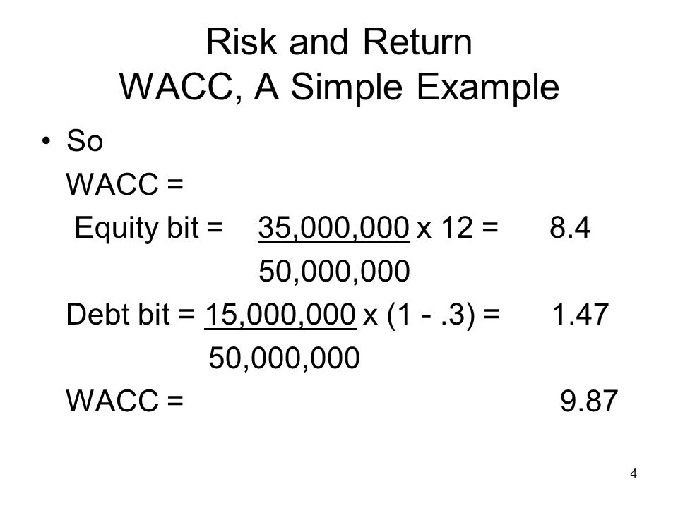 25 Risk and Return Cost of Equity Say WACC = 9.87 and inflation is 3% Then the real WACC is 1 + nominal wacc - 1 1 + inflation rate 1.0987 = 1.061 – 1 =.061 or 6.1 % 1.03