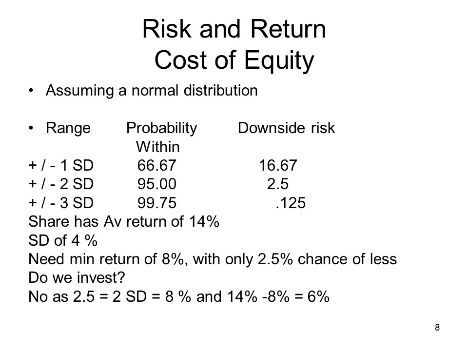 9 Risk and Return Cost of Equity Risk changes in a portfolio( = 2 or more assets) Expected Return of a portfolio = Weighted average of the assets in a portfolio E.g.