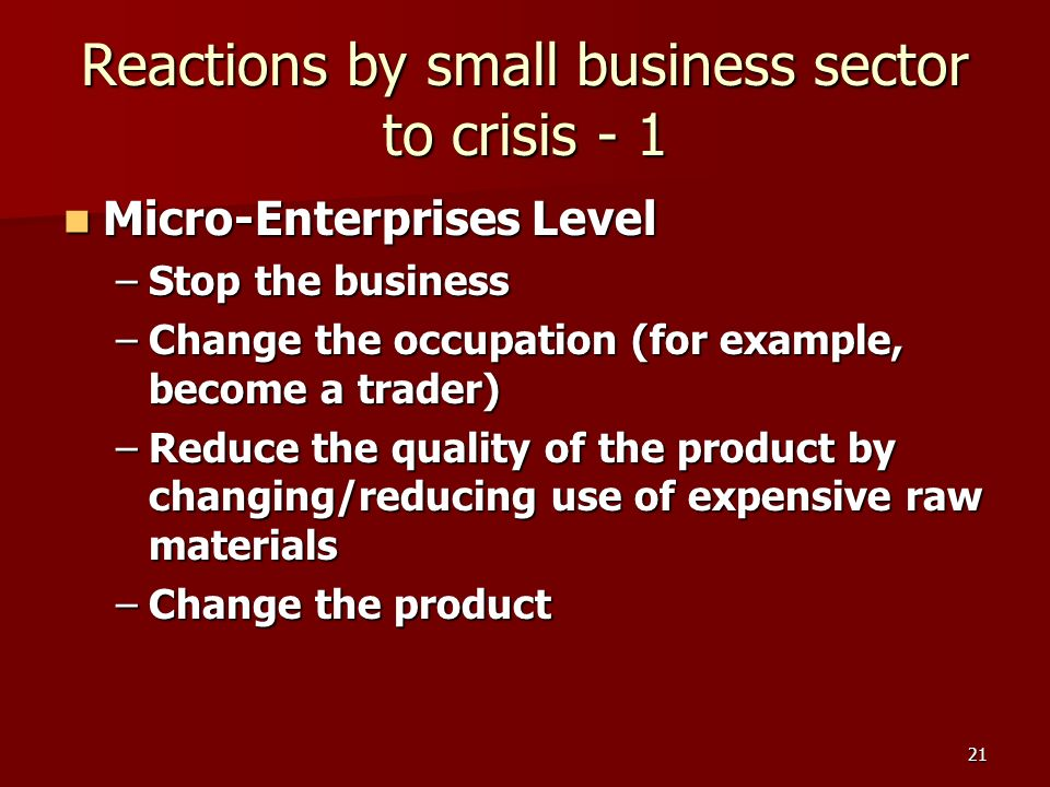 21 Reactions by small business sector to crisis - 1 Micro-Enterprises Level Micro-Enterprises Level –Stop the business –Change the occupation (for example, become a trader) –Reduce the quality of the product by changing/reducing use of expensive raw materials –Change the product