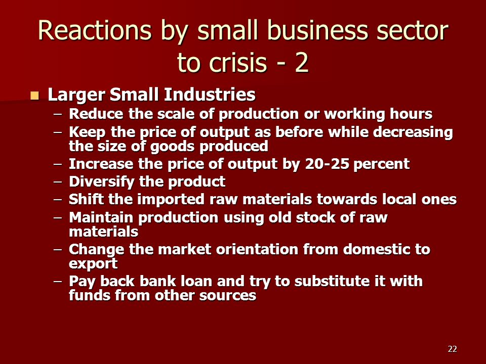 22 Reactions by small business sector to crisis - 2 Larger Small Industries Larger Small Industries –Reduce the scale of production or working hours –Keep the price of output as before while decreasing the size of goods produced –Increase the price of output by 20-25 percent –Diversify the product –Shift the imported raw materials towards local ones –Maintain production using old stock of raw materials –Change the market orientation from domestic to export –Pay back bank loan and try to substitute it with funds from other sources