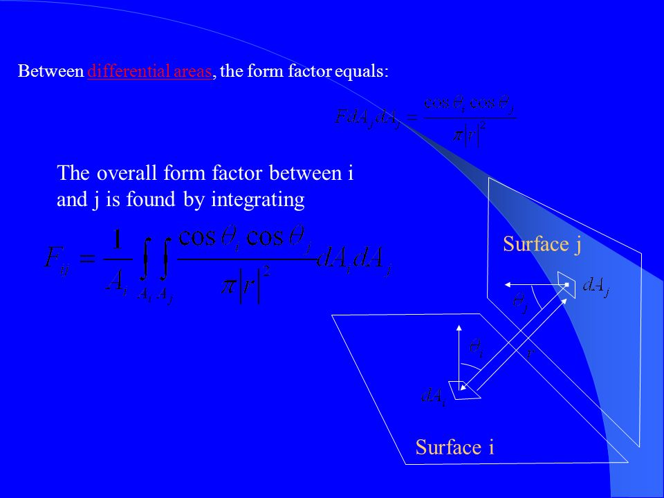 Surface i Surface j Between differential areas, the form factor equals: The overall form factor between i and j is found by integrating