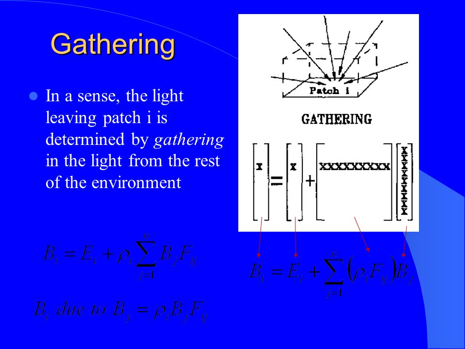 Gathering In a sense, the light leaving patch i is determined by gathering in the light from the rest of the environment
