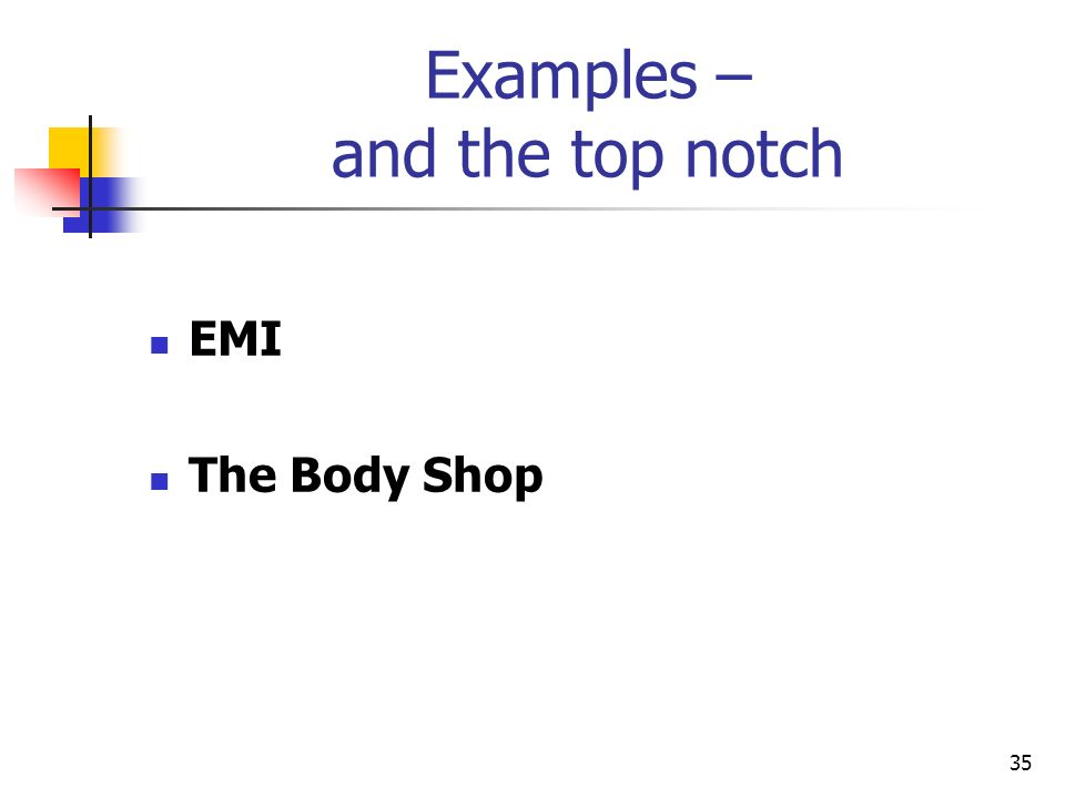 35 Examples – and the top notch EMI The Body Shop