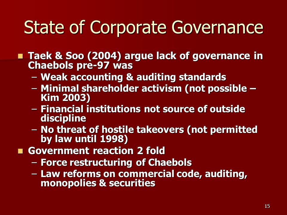 15 State of Corporate Governance Taek & Soo (2004) argue lack of governance in Chaebols pre-97 was Taek & Soo (2004) argue lack of governance in Chaebols pre-97 was –Weak accounting & auditing standards –Minimal shareholder activism (not possible – Kim 2003) –Financial institutions not source of outside discipline –No threat of hostile takeovers (not permitted by law until 1998) Government reaction 2 fold Government reaction 2 fold –Force restructuring of Chaebols –Law reforms on commercial code, auditing, monopolies & securities