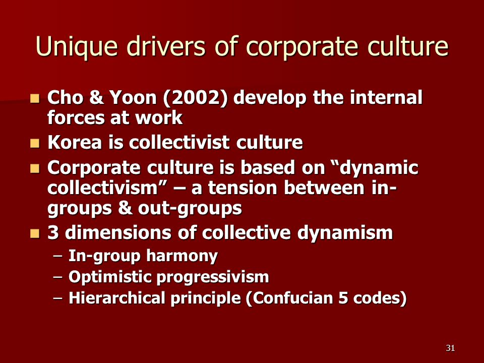 31 Unique drivers of corporate culture Cho & Yoon (2002) develop the internal forces at work Cho & Yoon (2002) develop the internal forces at work Korea is collectivist culture Korea is collectivist culture Corporate culture is based on dynamic collectivism – a tension between in- groups & out-groups Corporate culture is based on dynamic collectivism – a tension between in- groups & out-groups 3 dimensions of collective dynamism 3 dimensions of collective dynamism –In-group harmony –Optimistic progressivism –Hierarchical principle (Confucian 5 codes)