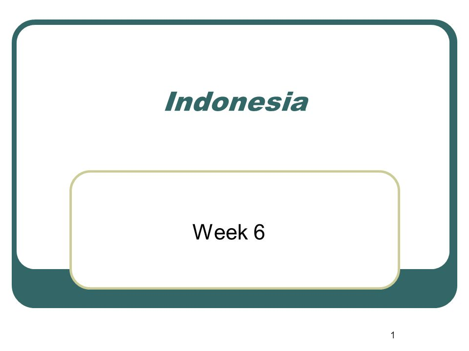 1 Indonesia Week 6