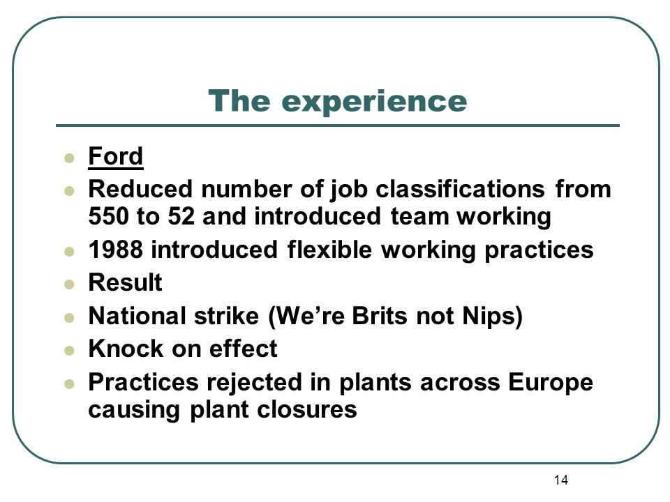 14 The experience Ford Reduced number of job classifications from 550 to 52 and introduced team working 1988 introduced flexible working practices Result National strike (Were Brits not Nips) Knock on effect Practices rejected in plants across Europe causing plant closures