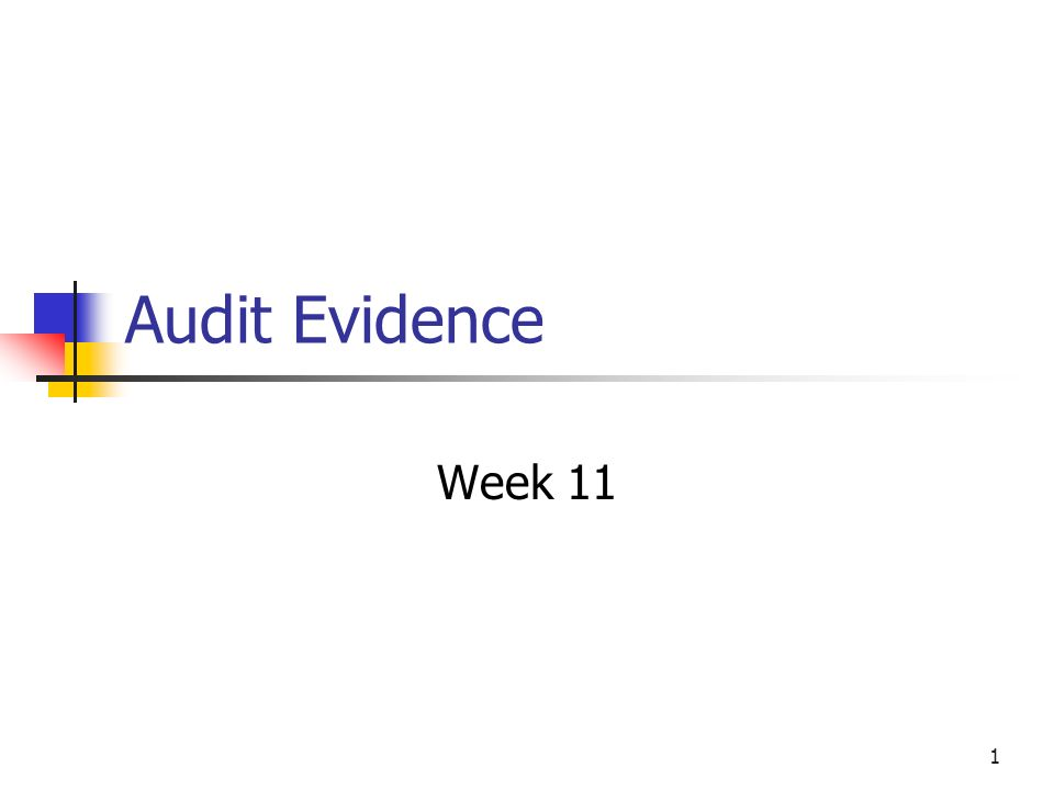 1 Audit Evidence Week 11