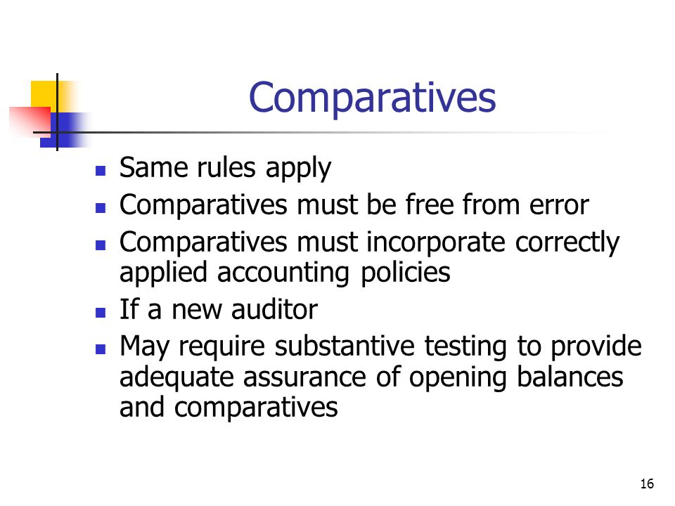 16 Comparatives Same rules apply Comparatives must be free from error Comparatives must incorporate correctly applied accounting policies If a new aud