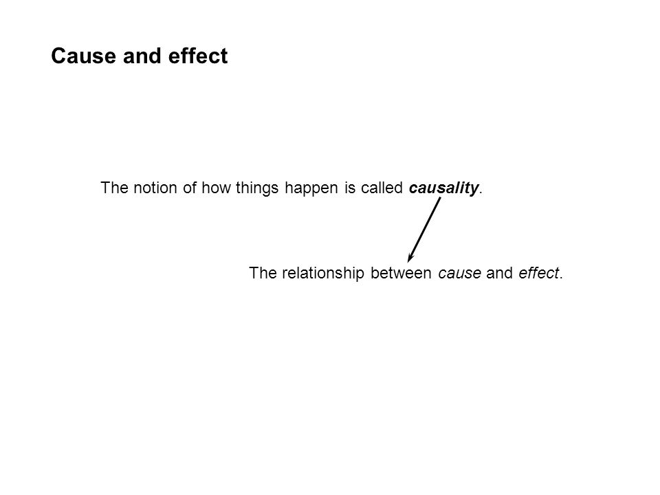Cause and effect The notion of how things happen is called causality. The relationship between cause and effect.