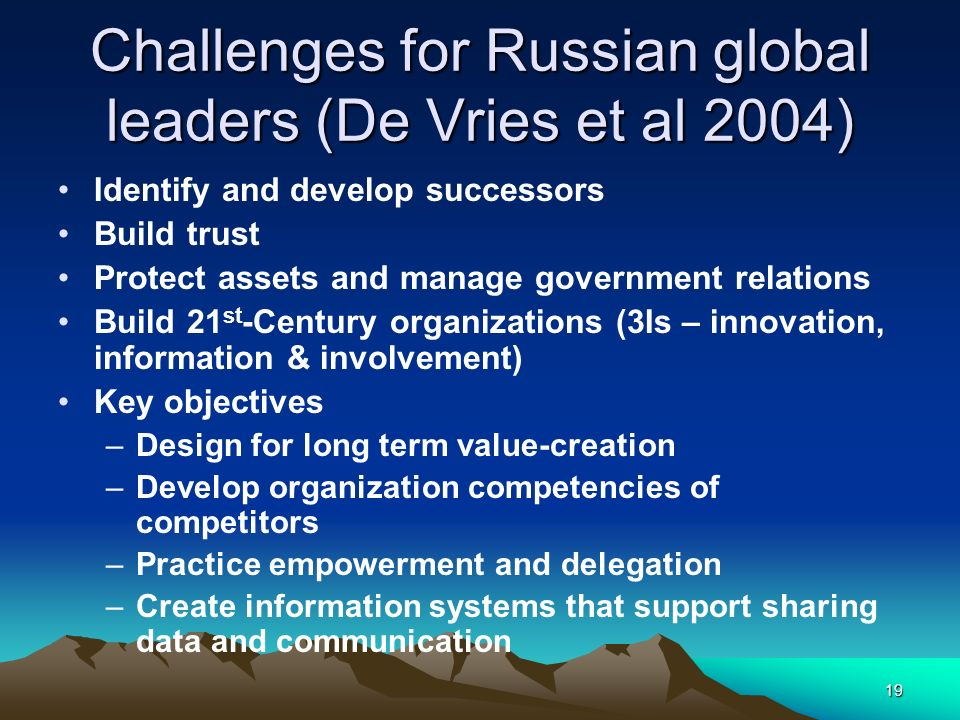 19 Challenges for Russian global leaders (De Vries et al 2004) Identify and develop successors Build trust Protect assets and manage government relati