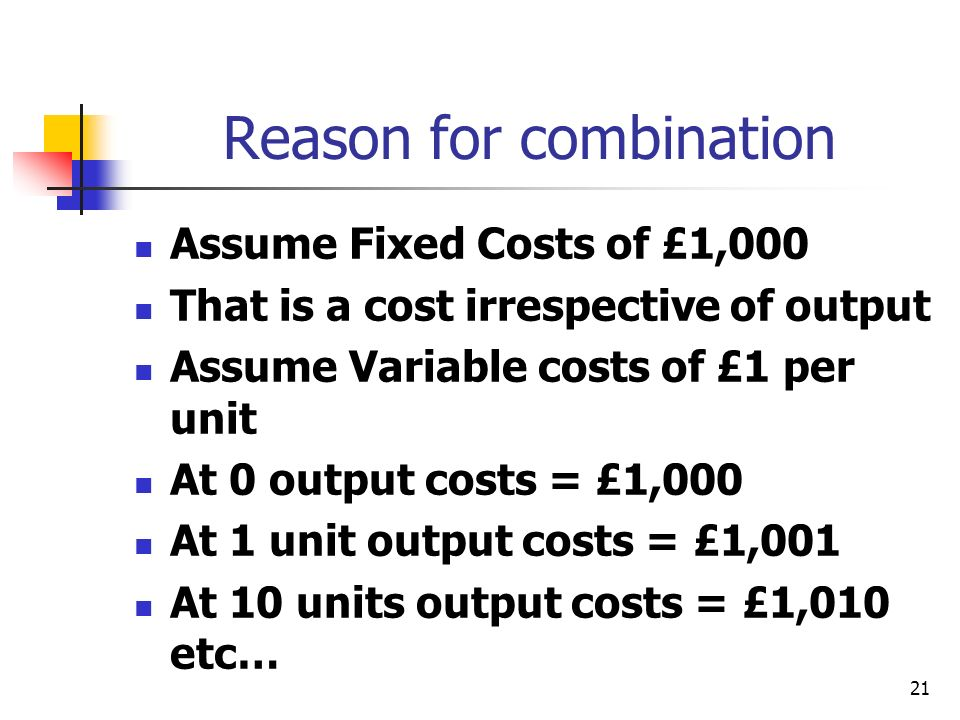 21 Reason for combination Assume Fixed Costs of £1,000 That is a cost irrespective of output Assume Variable costs of £1 per unit At 0 output costs =