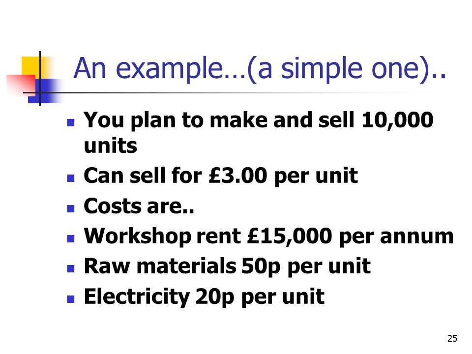 25 An example…(a simple one).. You plan to make and sell 10,000 units Can sell for £3.00 per unit Costs are.. Workshop rent £15,000 per annum Raw mate