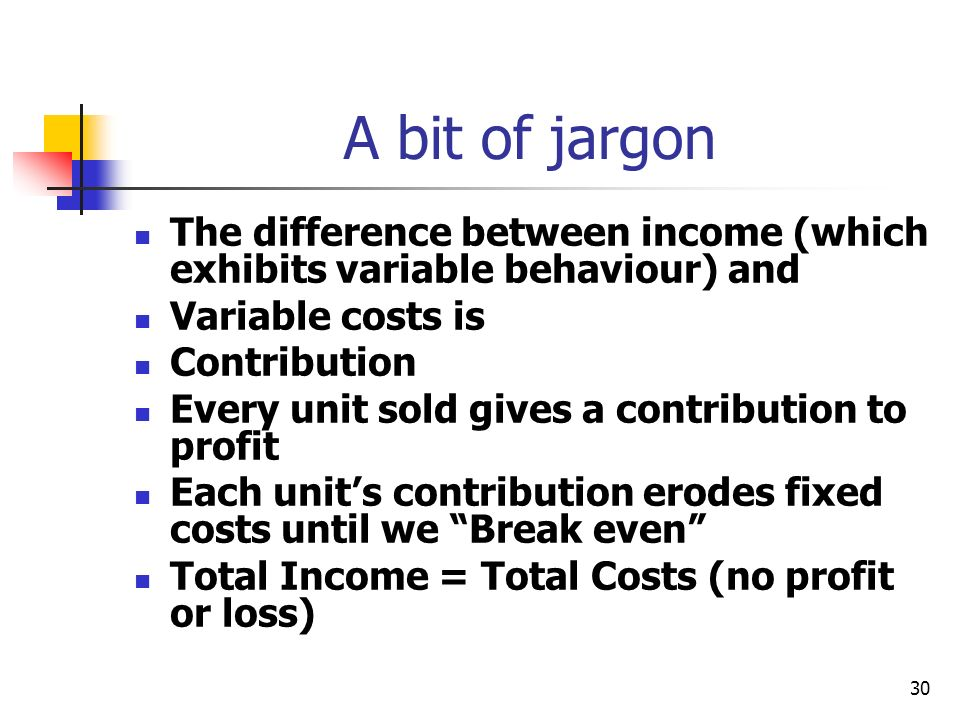 30 A bit of jargon The difference between income (which exhibits variable behaviour) and Variable costs is Contribution Every unit sold gives a contri