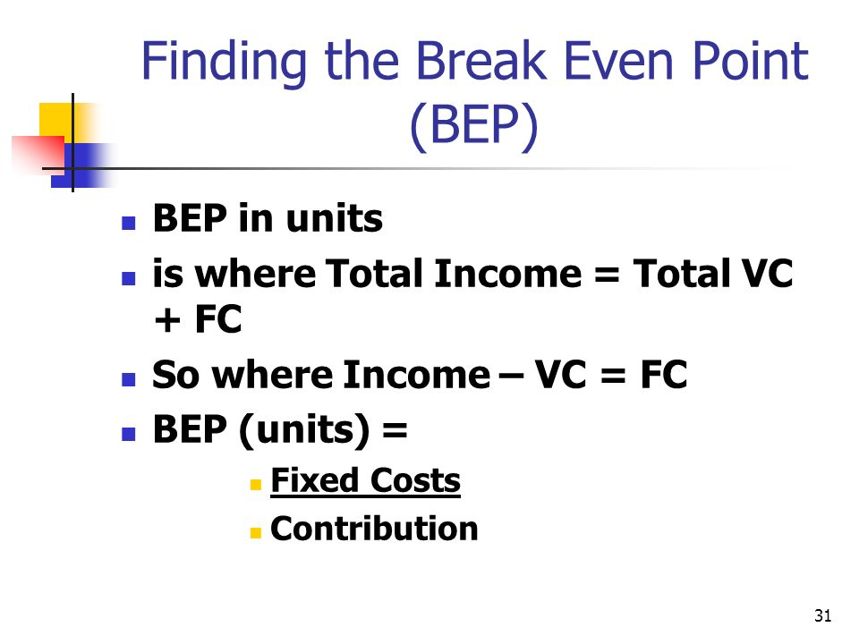 31 Finding the Break Even Point (BEP) BEP in units is where Total Income = Total VC + FC So where Income – VC = FC BEP (units) = Fixed Costs Contribut