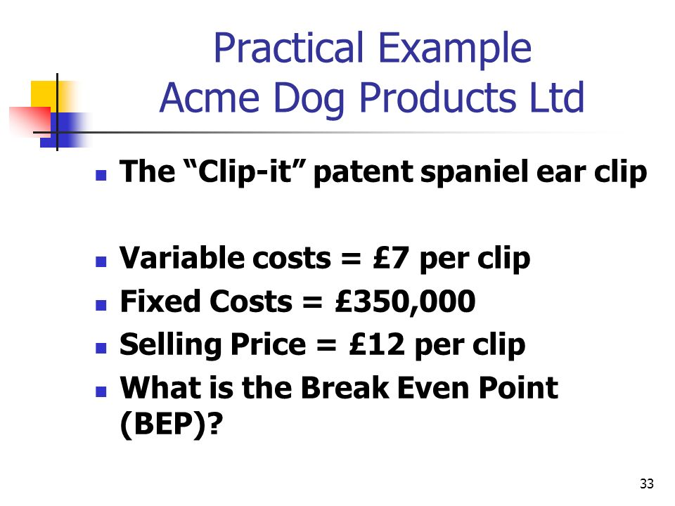 33 Practical Example Acme Dog Products Ltd The Clip-it patent spaniel ear clip Variable costs = £7 per clip Fixed Costs = £350,000 Selling Price = £12