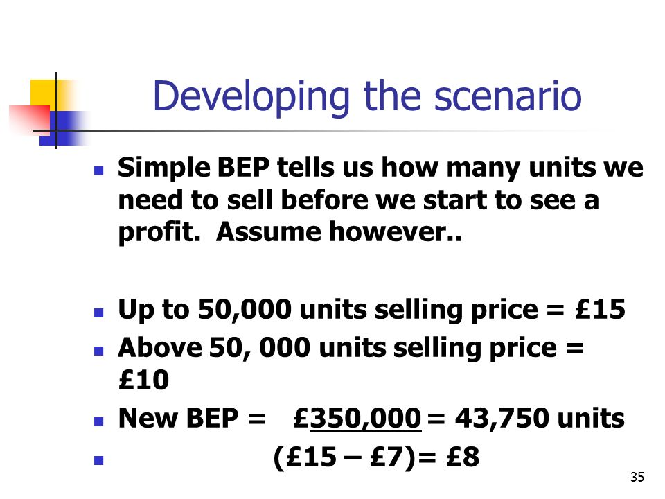 35 Developing the scenario Simple BEP tells us how many units we need to sell before we start to see a profit. Assume however.. Up to 50,000 units sel