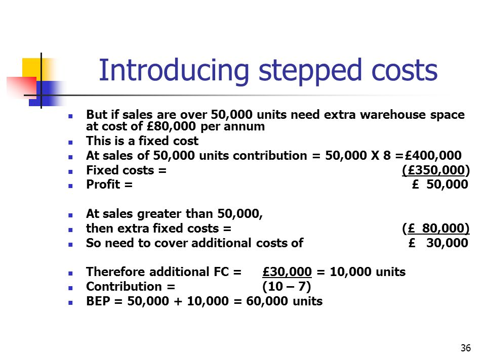 36 Introducing stepped costs But if sales are over 50,000 units need extra warehouse space at cost of £80,000 per annum This is a fixed cost At sales