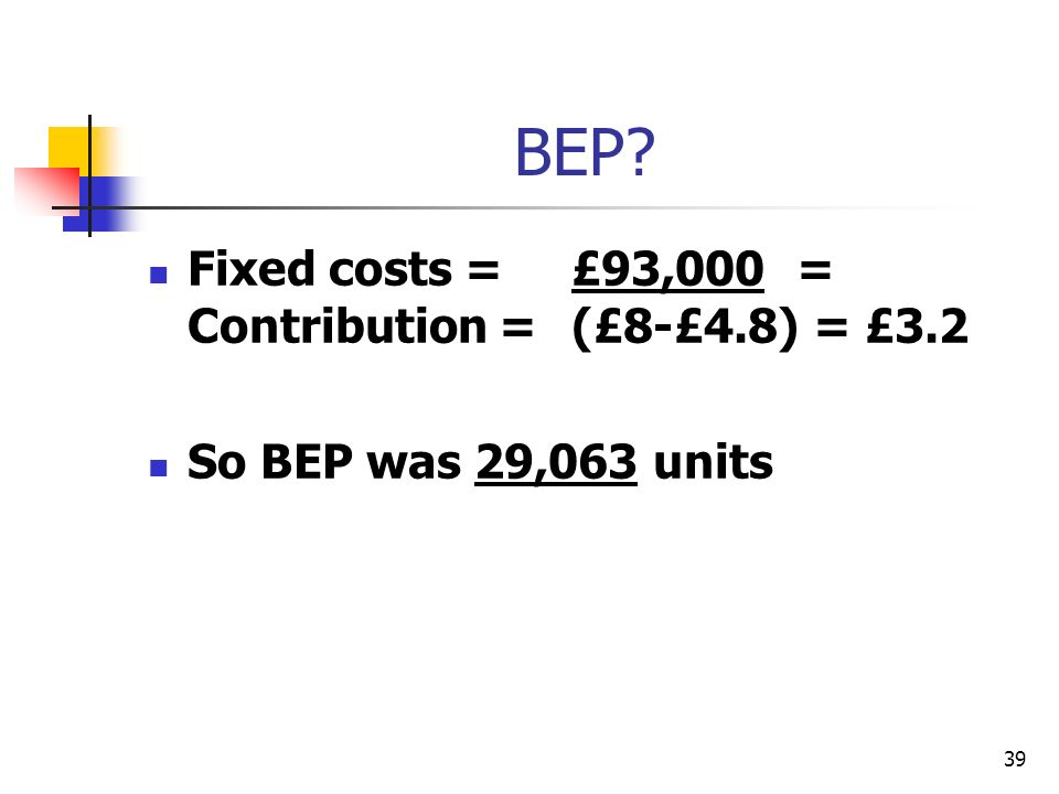 39 BEP? Fixed costs = £93,000 = Contribution =(£8-£4.8) = £3.2 So BEP was 29,063 units